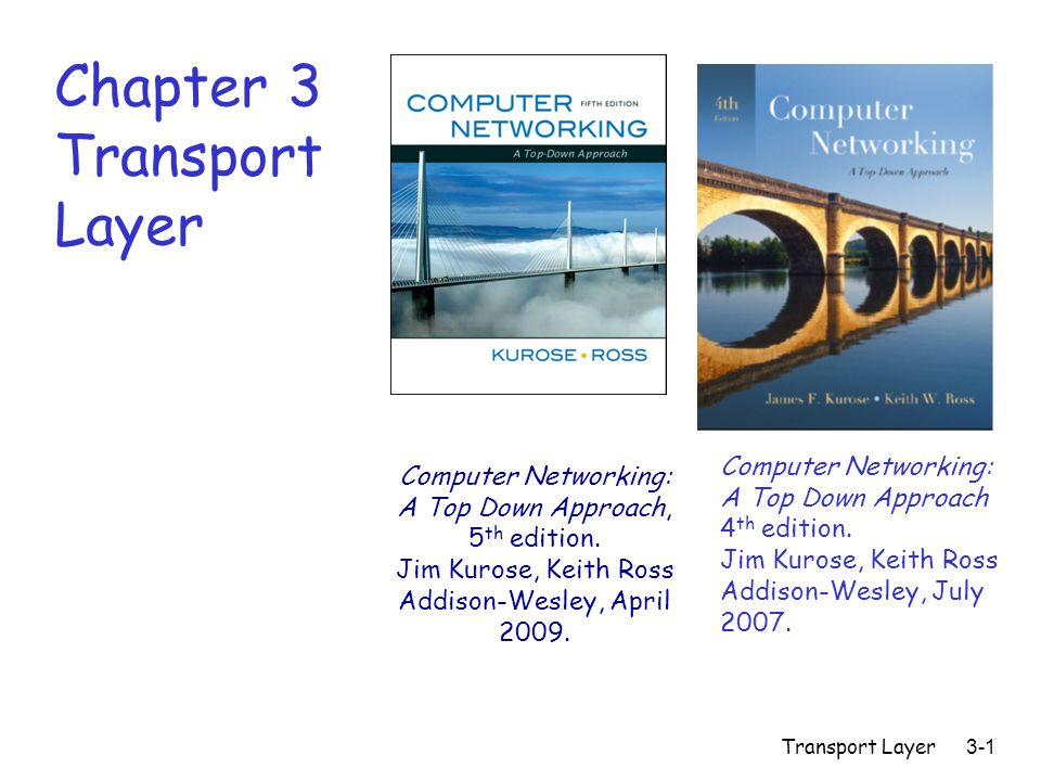 Transport Layer3-1 Chapter 3 Transport Layer Computer Networking: A Top Down Approach 4 th edition.