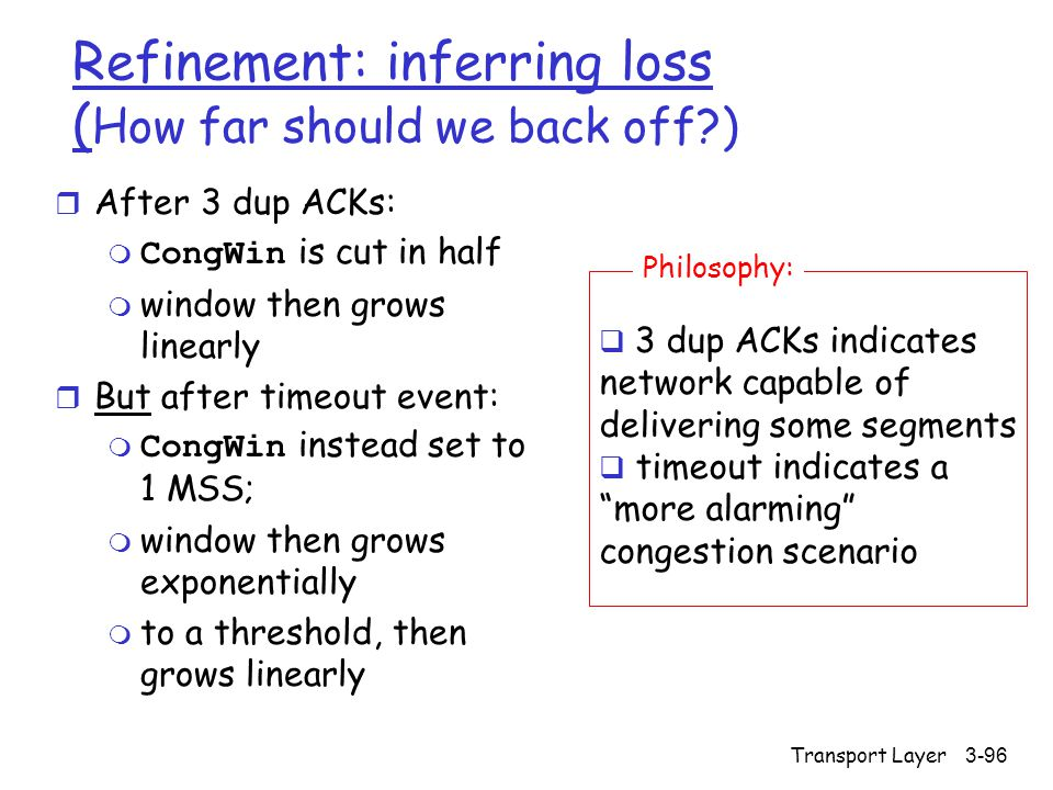 Transport Layer3-96 Refinement: inferring loss ( How far should we back off?) r After 3 dup ACKs:  CongWin is cut in half m window then grows linearly r But after timeout event:  CongWin instead set to 1 MSS; m window then grows exponentially m to a threshold, then grows linearly  3 dup ACKs indicates network capable of delivering some segments  timeout indicates a more alarming congestion scenario Philosophy:
