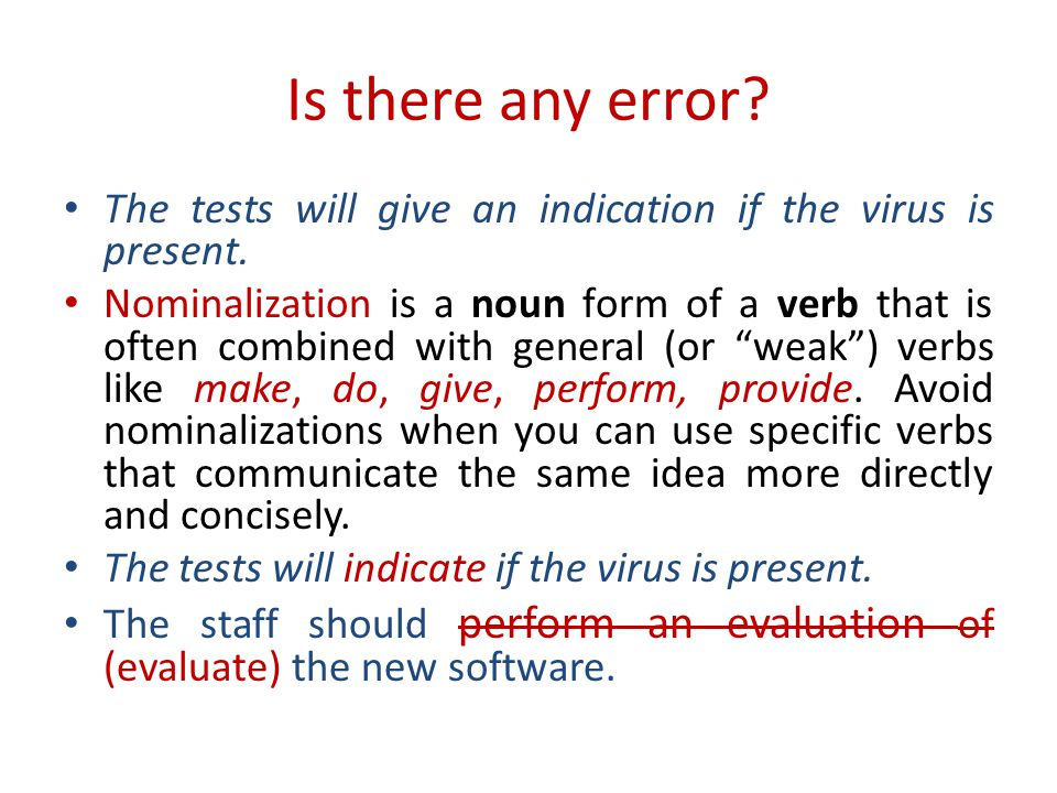 Is there any error.The tests will give an indication if the virus is present.