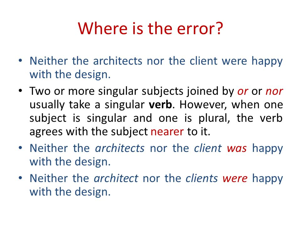 Where is the error. Neither the architects nor the client were happy with the design.