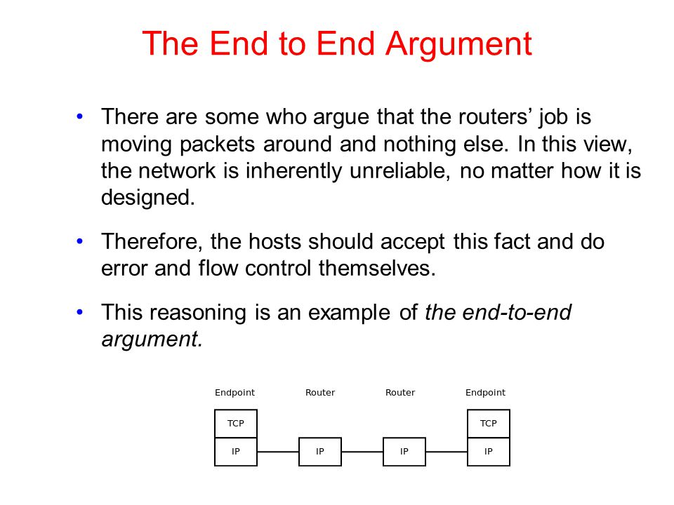 The End to End Argument There are some who argue that the routers' job is moving packets around and nothing else. In this view, the network is inheren