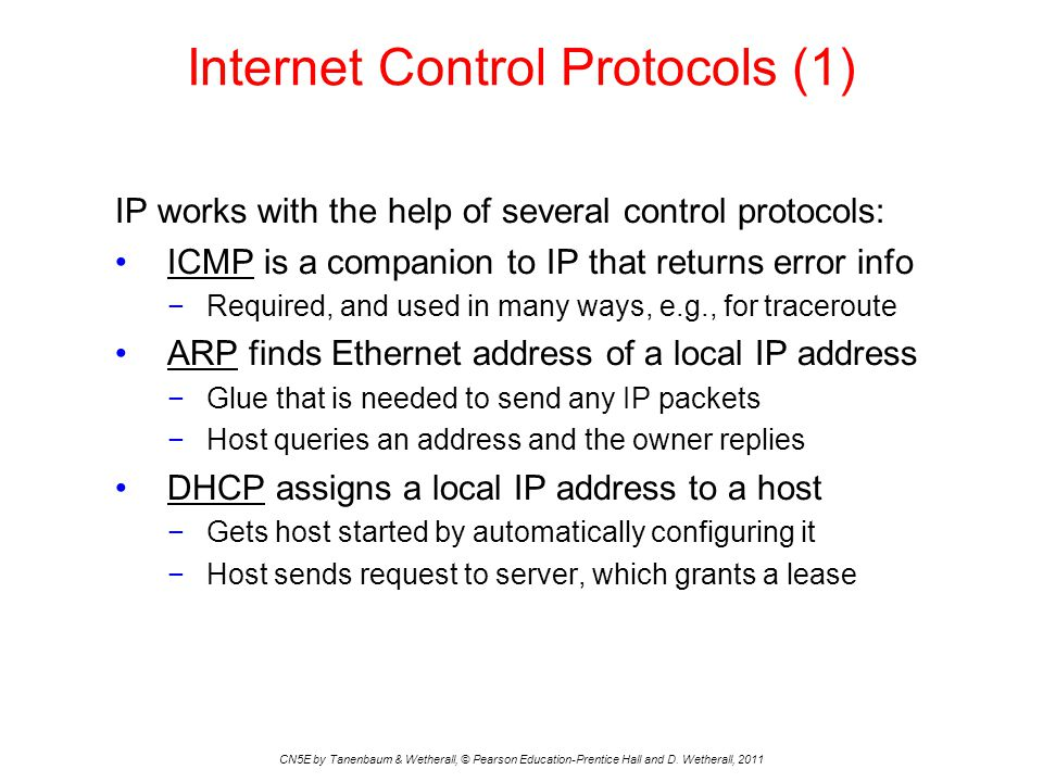 Internet Control Protocols (1) CN5E by Tanenbaum & Wetherall, © Pearson Education-Prentice Hall and D. Wetherall, 2011 IP works with the help of sever