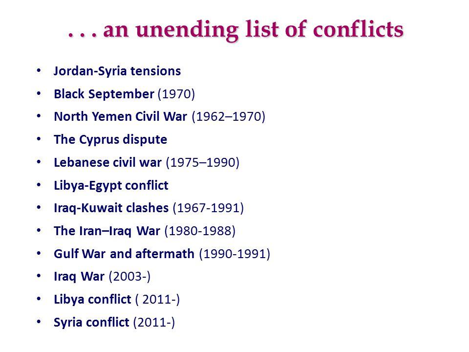 ... an unending list of conflicts Jordan-Syria tensions Black September (1970) North Yemen Civil War (1962–1970) The Cyprus dispute Lebanese civil war