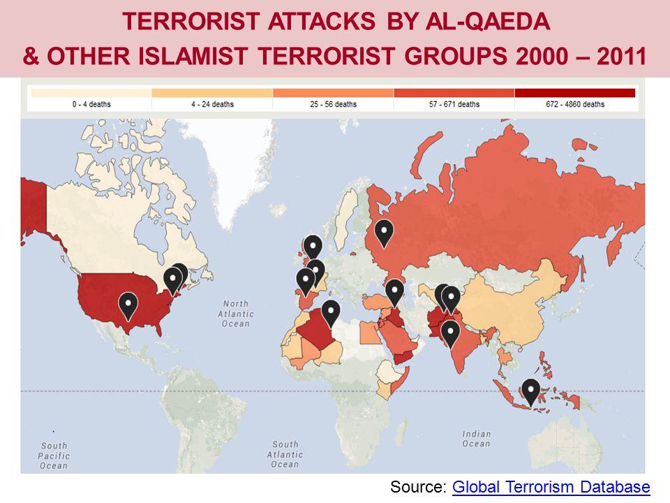 TERRORIST ATTACKS BY AL-QAEDA & OTHER ISLAMIST TERRORIST GROUPS 2000 – 2011 Source: Global Terrorism DatabaseGlobal Terrorism Database