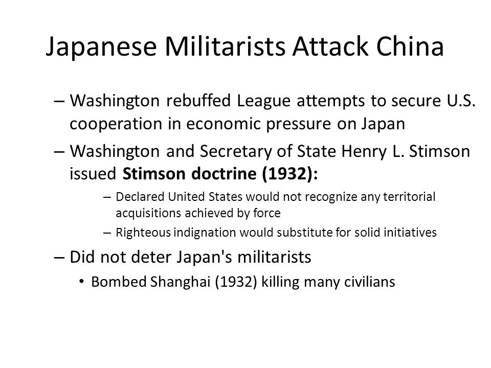 Japanese Militarists Attack China – Washington rebuffed League attempts to secure U.S.