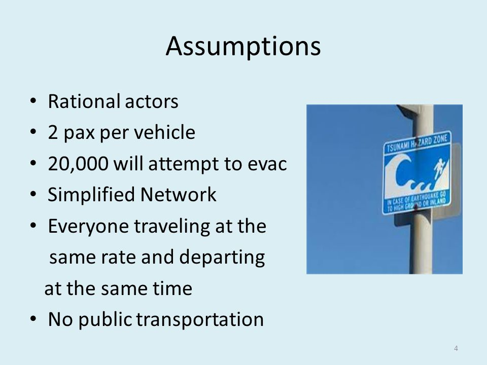 Assumptions Rational actors 2 pax per vehicle 20,000 will attempt to evac Simplified Network Everyone traveling at the same rate and departing at the same time No public transportation 4