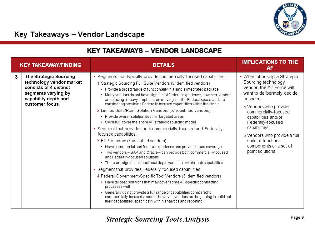Strategic Sourcing Tools Analysis Key Takeaways – Vendor Landscape Page 9 KEY TAKEAWAY/FINDINGDETAILS IMPLICATIONS TO THE AF 3 The Strategic Sourcing