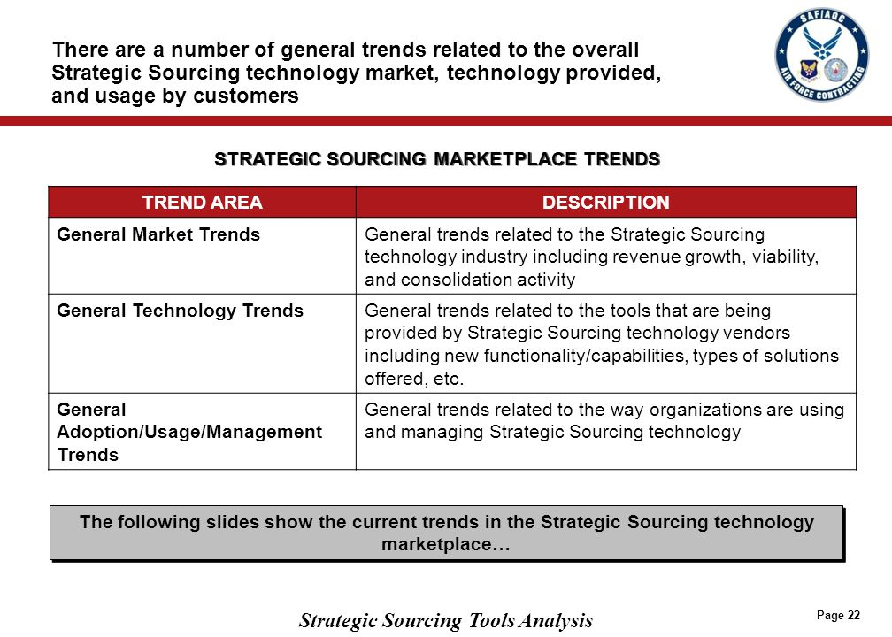 Strategic Sourcing Tools Analysis Page 22 There are a number of general trends related to the overall Strategic Sourcing technology market, technology