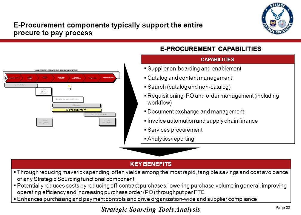 Strategic Sourcing Tools Analysis E-Procurement components typically support the entire procure to pay process Page 33 CAPABILITIES  Supplier on-boar