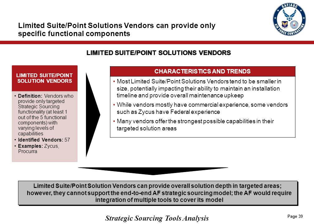 Strategic Sourcing Tools Analysis Limited Suite/Point Solutions Vendors can provide only specific functional components CHARACTERISTICS AND TRENDS Mos