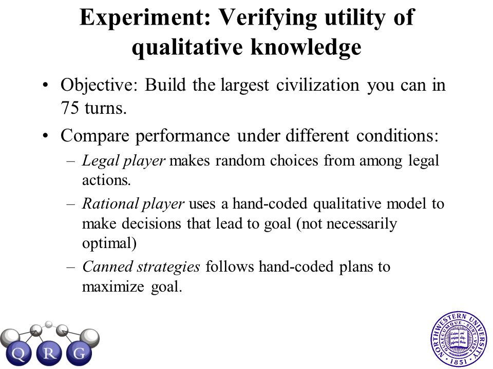 Experiment: Verifying utility of qualitative knowledge Objective: Build the largest civilization you can in 75 turns. Compare performance under differ