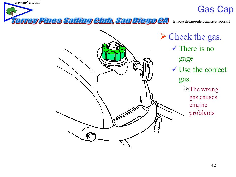 http://sites.google.com/site/tpscsail Copyright  2005-2013 42 Gas Cap  Check the gas.
