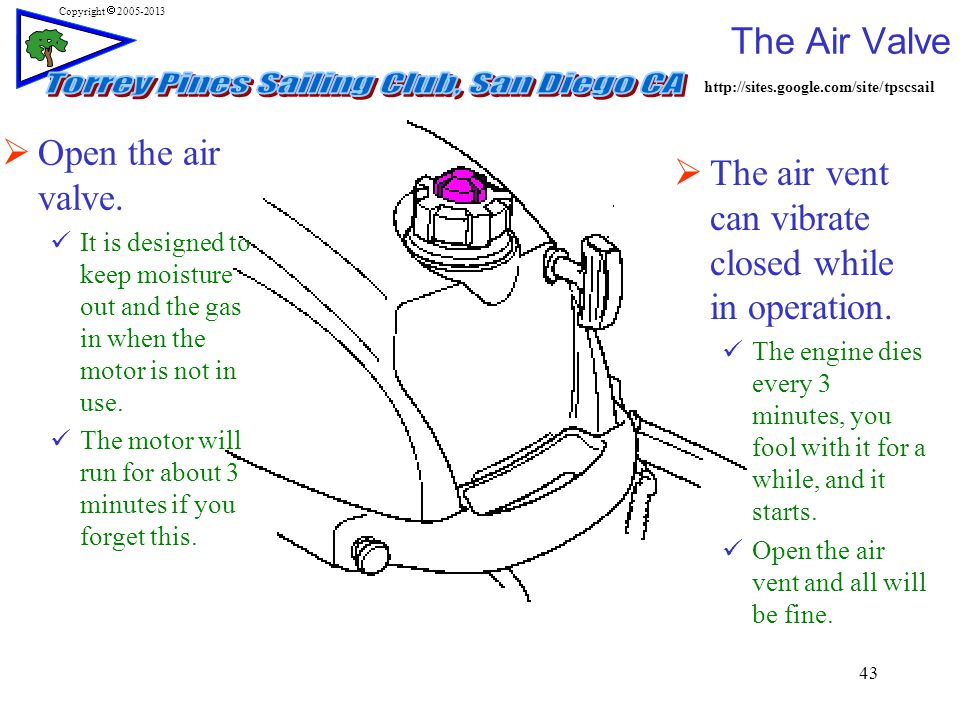 http://sites.google.com/site/tpscsail Copyright  2005-2013 The Air Valve 43  Open the air valve.