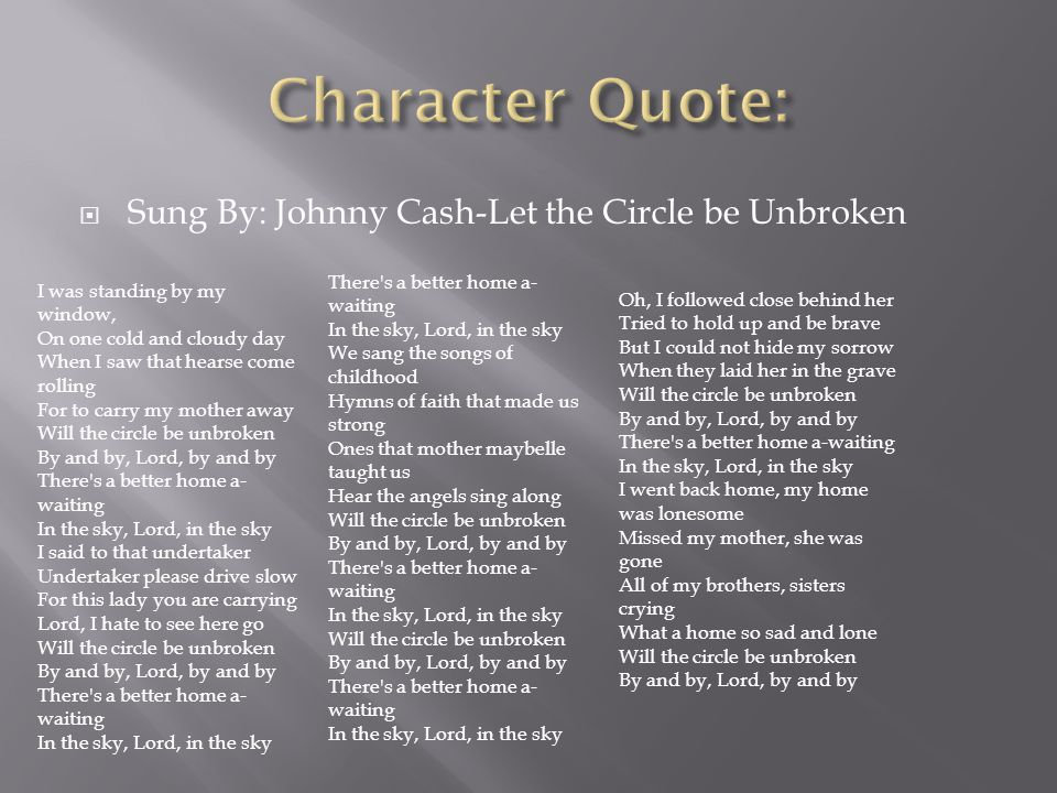  Sung By: Johnny Cash-Let the Circle be Unbroken There's a better home a- waiting In the sky, Lord, in the sky We sang the songs of childhood Hymns o