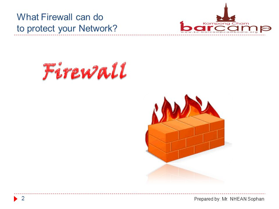 What Firewall can do to protect your Network 2 Prepared by: Mr. NHEAN Sophan