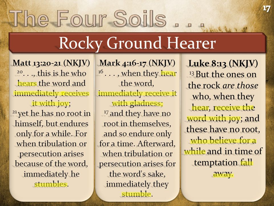 Rocky Ground Hearer Mark 4:16-17 (NKJV) 16..., when they hear the word, immediately receive it with gladness; 17 and they have no root in themselves,