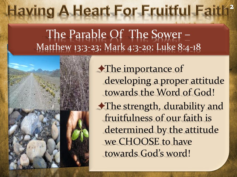  The importance of developing a proper attitude towards the Word of God.