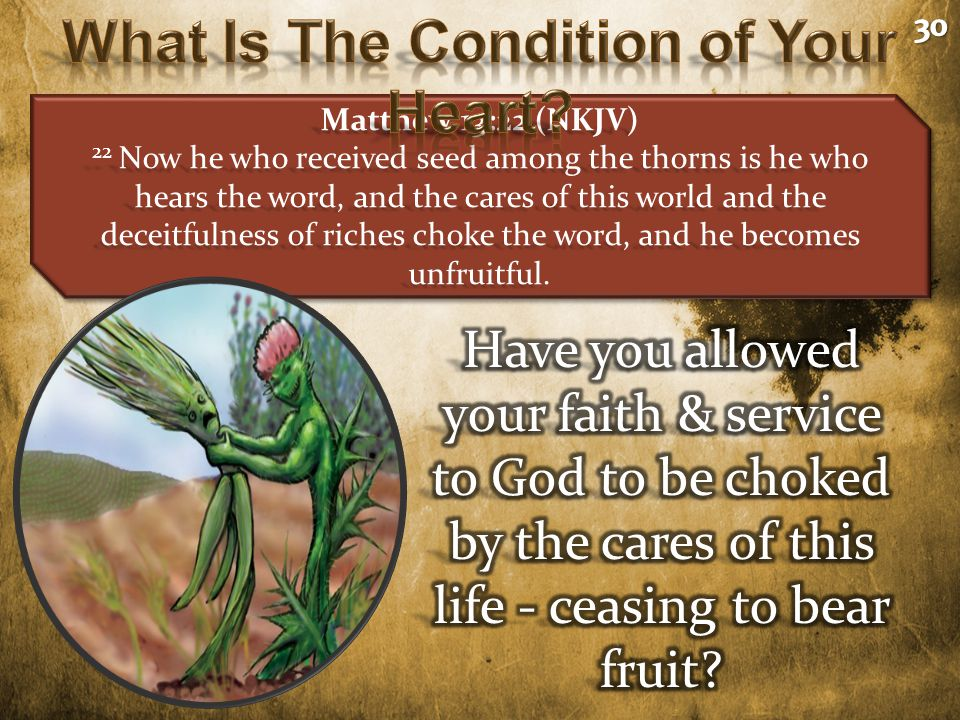 Matthew 13:22 (NKJV) 22 Now he who received seed among the thorns is he who hears the word, and the cares of this world and the deceitfulness of riches choke the word, and he becomes unfruitful.