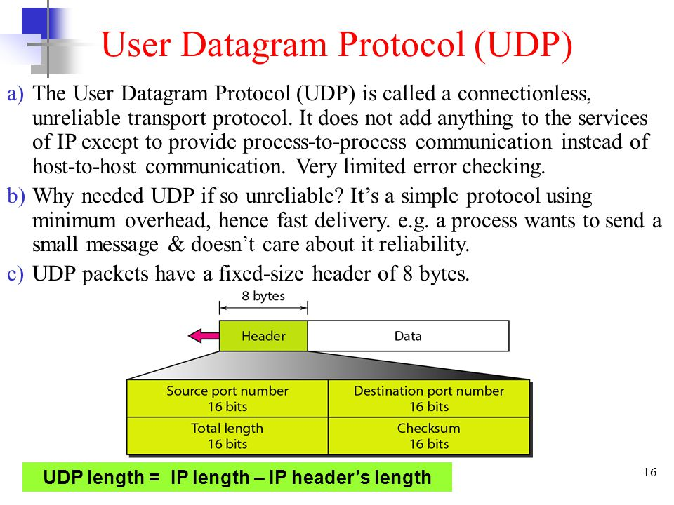 16 User Datagram Protocol (UDP) a)The User Datagram Protocol (UDP) is called a connectionless, unreliable transport protocol.