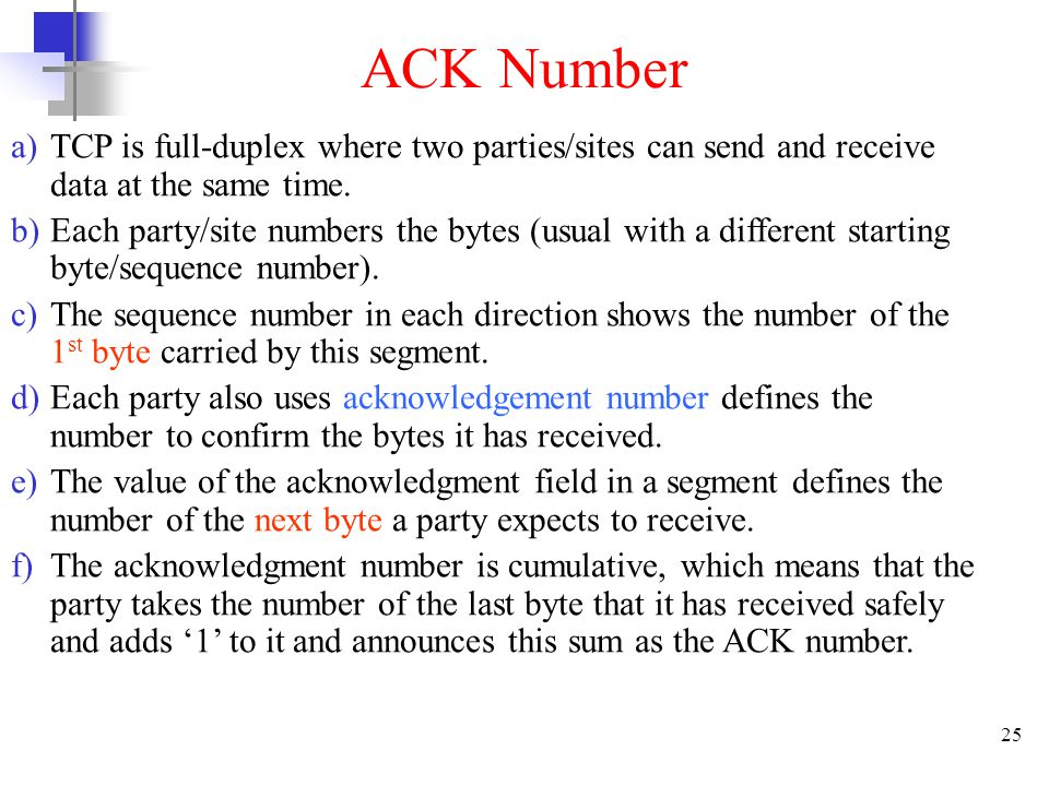 25 ACK Number a)TCP is full-duplex where two parties/sites can send and receive data at the same time.