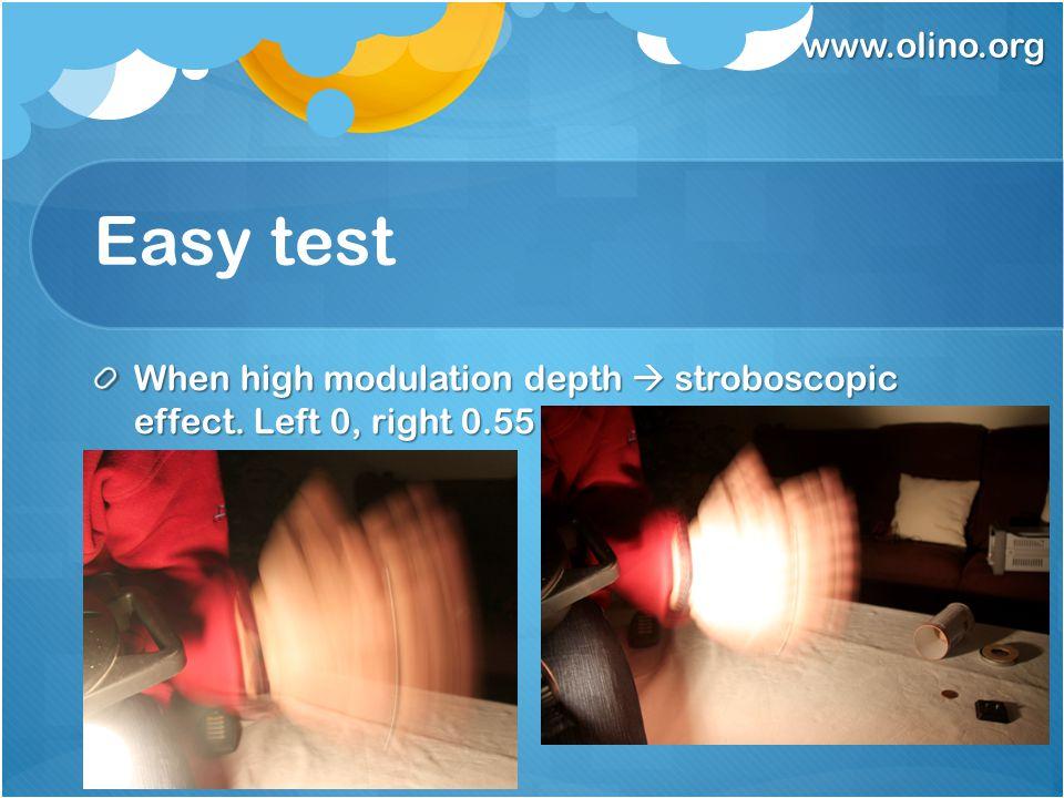 www.olino.org Easy test When high modulation depth  stroboscopic effect. Left 0, right 0.55