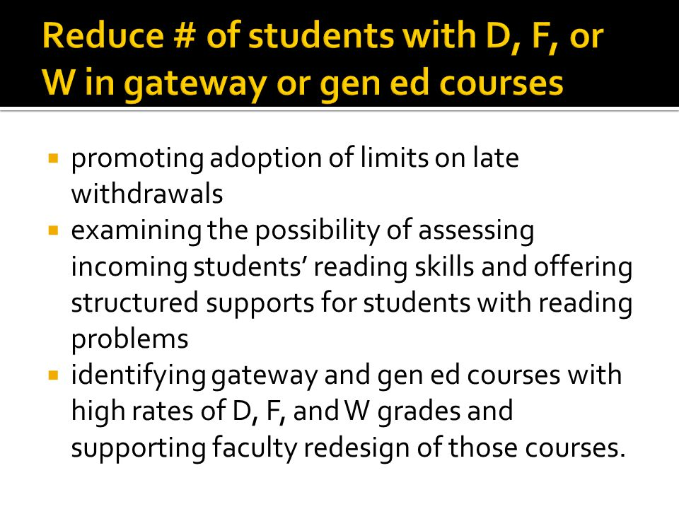  promoting adoption of limits on late withdrawals  examining the possibility of assessing incoming students' reading skills and offering structured supports for students with reading problems  identifying gateway and gen ed courses with high rates of D, F, and W grades and supporting faculty redesign of those courses.