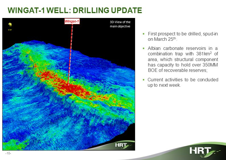 -10- WINGAT-1 WELL: DRILLING UPDATE  First prospect to be drilled, spud-in on March 25 th.  Albian carbonate reservoirs in a combination trap with 3