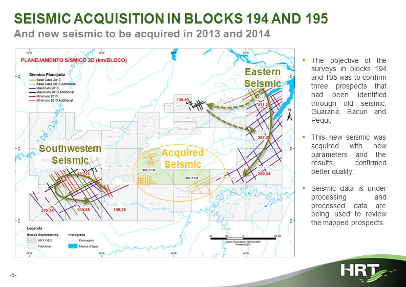 -5- SEISMIC ACQUISITION IN BLOCKS 194 AND 195 And new seismic to be acquired in 2013 and 2014  The objective of the surveys in blocks 194 and 195 was