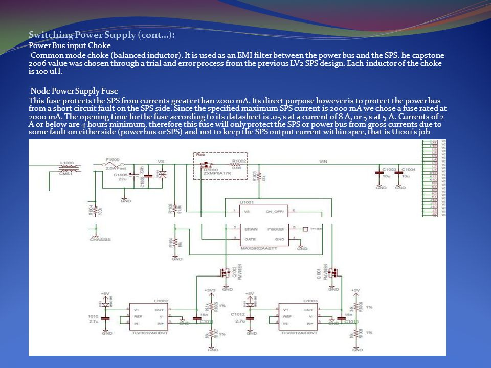 Switching Power Supply (cont…): Power Bus input Choke Common mode choke (balanced inductor).