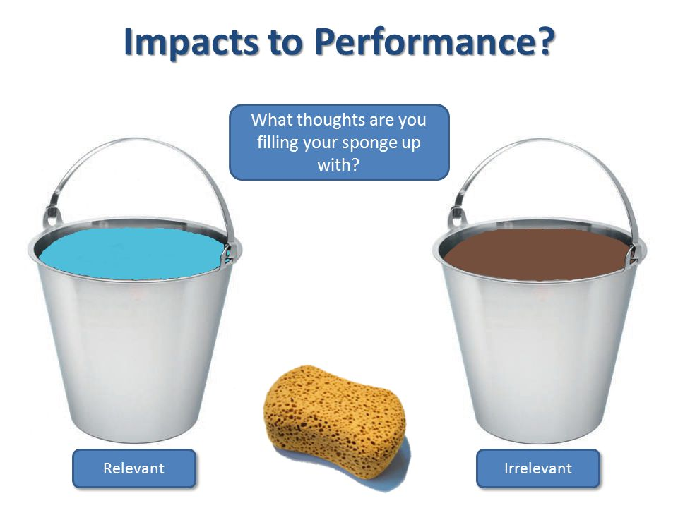 Impacts to Performance Relevant Irrelevant What thoughts are you filling your sponge up with