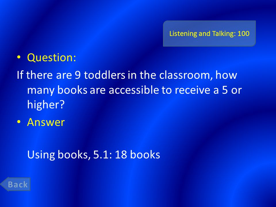 Listening and Talking: 100 Question: If there are 9 toddlers in the classroom, how many books are accessible to receive a 5 or higher.
