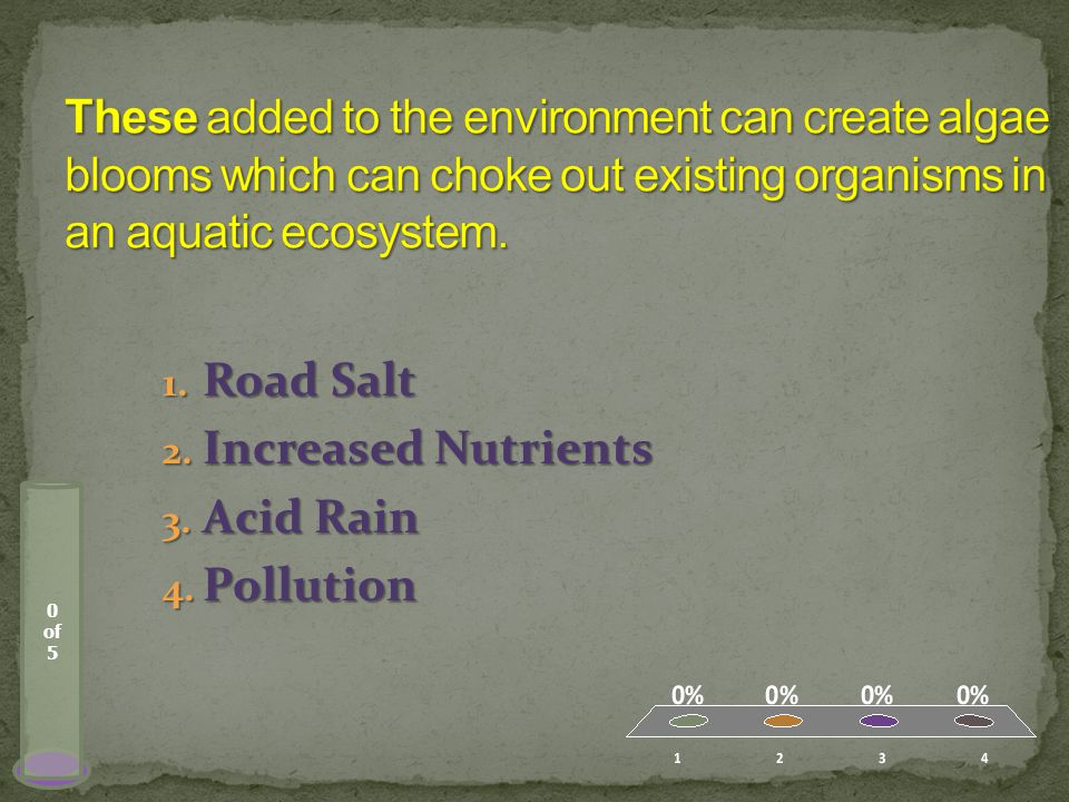 0 of 5 1. Road Salt 2. Increased Nutrients 3. Acid Rain 4. Pollution