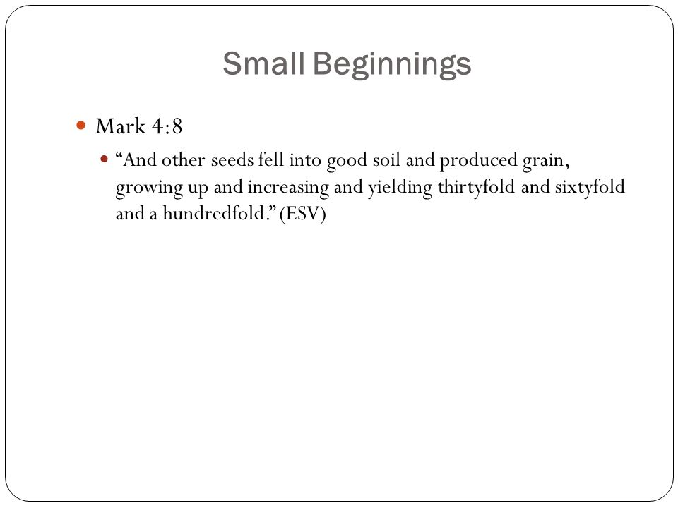 """Small Beginnings Mark 4:8 """"And other seeds fell into good soil and produced grain, growing up and increasing and yielding thirtyfold and sixtyfold and"""