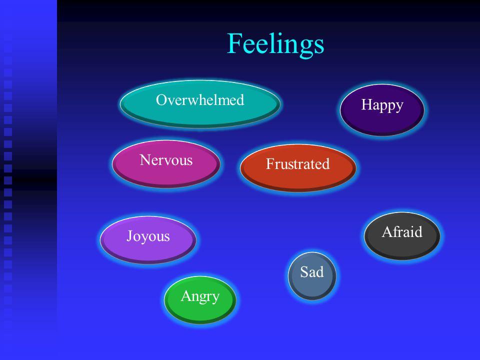 Feelings Nervous Sad Overwhelmed Joyous Frustrated Angry Afraid Happy