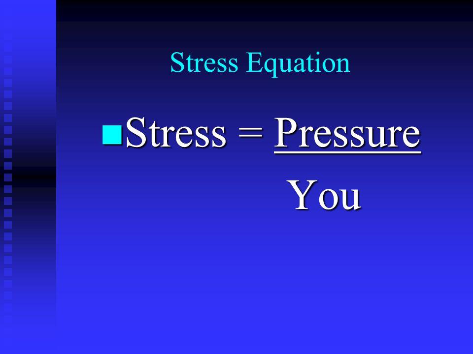 Stress Equation n Stress = Pressure You You