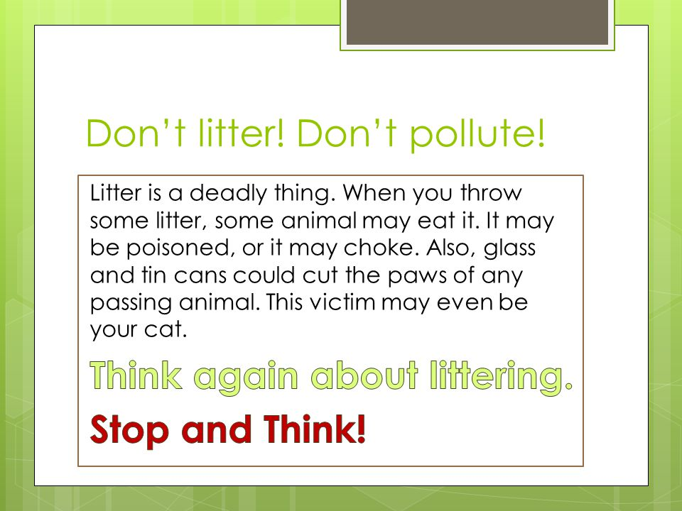 Don't litter! Don't pollute!