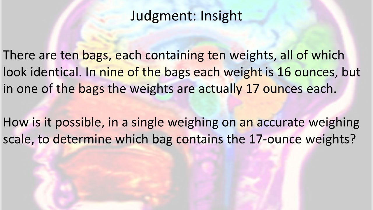 There are ten bags, each containing ten weights, all of which look identical.