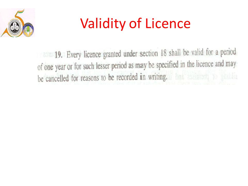 Validity of Licence
