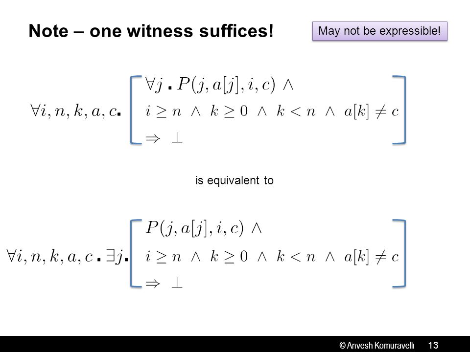 © Anvesh Komuravelli Note – one witness suffices! 13 is equivalent to May not be expressible!