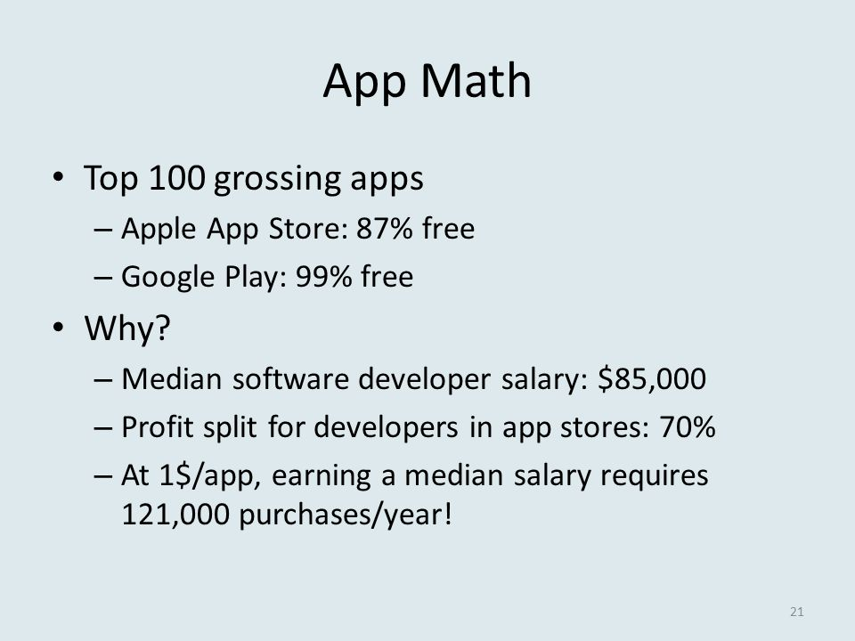 App Math Top 100 grossing apps – Apple App Store: 87% free – Google Play: 99% free Why? – Median software developer salary: $85,000 – Profit split for