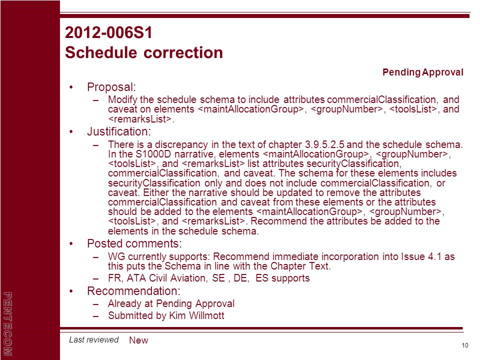10 Last reviewed 2012-006S1 Schedule correction Proposal: –Modify the schedule schema to include attributes commercialClassification, and caveat on el