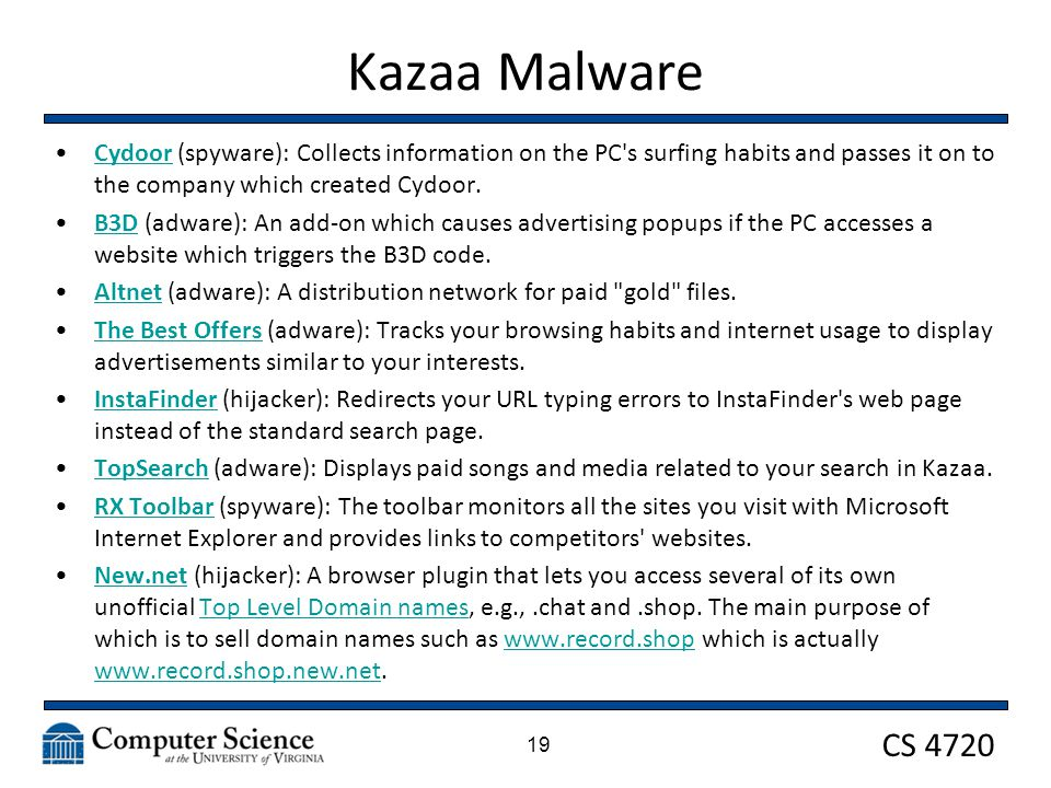 CS 4720 Kazaa Malware Cydoor (spyware): Collects information on the PC's surfing habits and passes it on to the company which created Cydoor.Cydoor B3