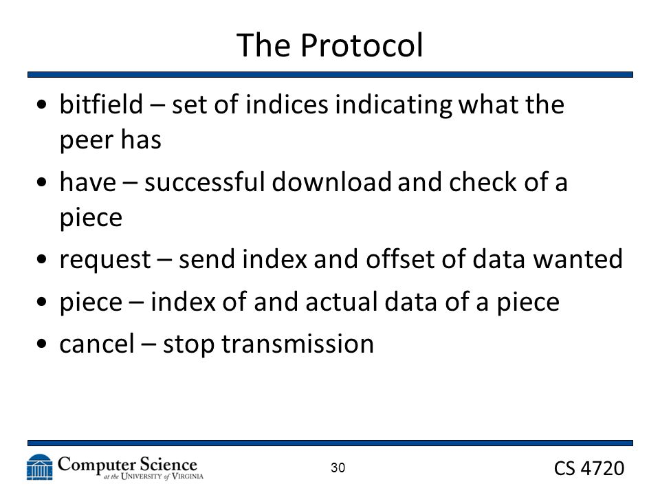 CS 4720 The Protocol bitfield – set of indices indicating what the peer has have – successful download and check of a piece request – send index and o
