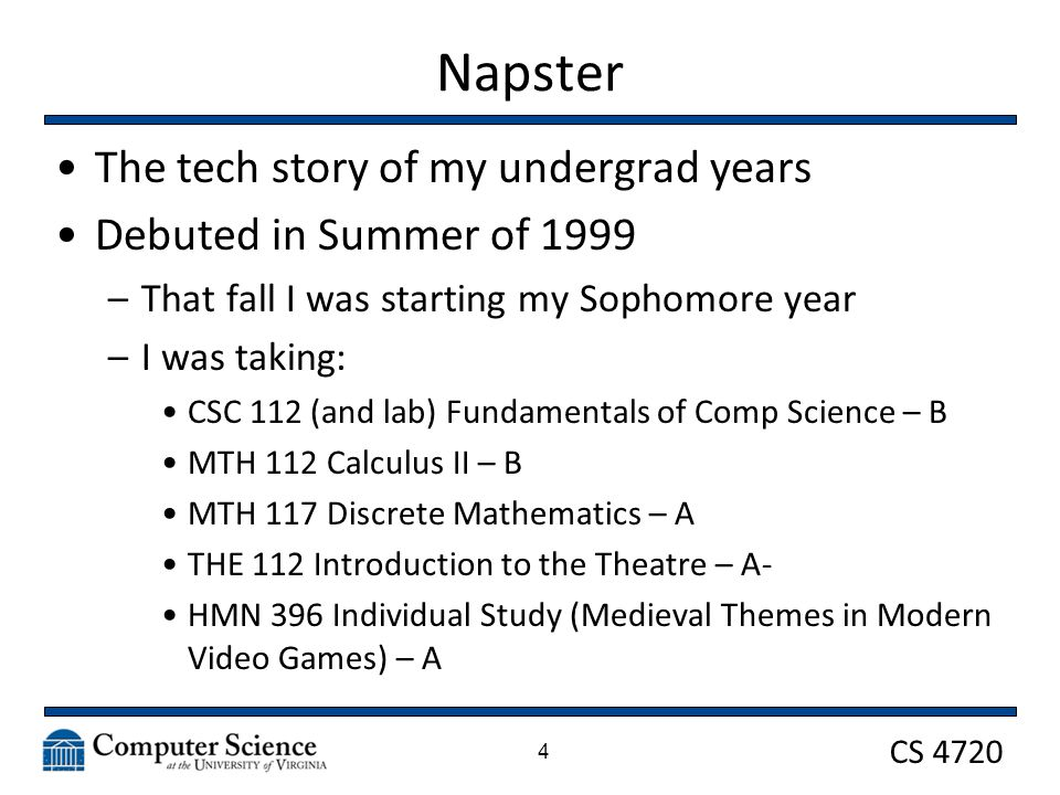 CS 4720 Napster Protocol Napster ran central servers that maintained: –User authentication –Logging –Chat functionality –Making connections between clients A user would login to Napster and the program would the populate their profile with all the songs/files they had available 5