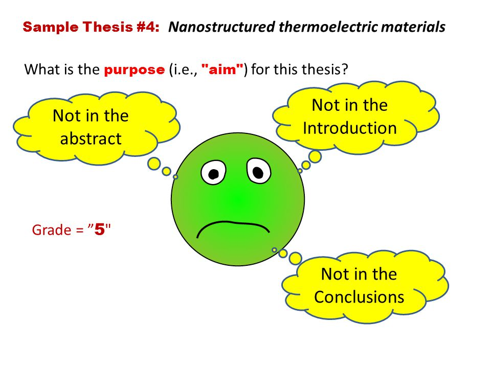 Sample Thesis #4: Nanostructured thermoelectric materials What is the purpose (i.e., aim ) for this thesis.