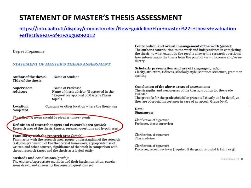 STATEMENT OF MASTER'S THESIS ASSESSMENT https://into.aalto.fi/display/enmasterelec/New+guideline+for+master%27s+thesis+evaluation +effective+as+of+1+August+2012