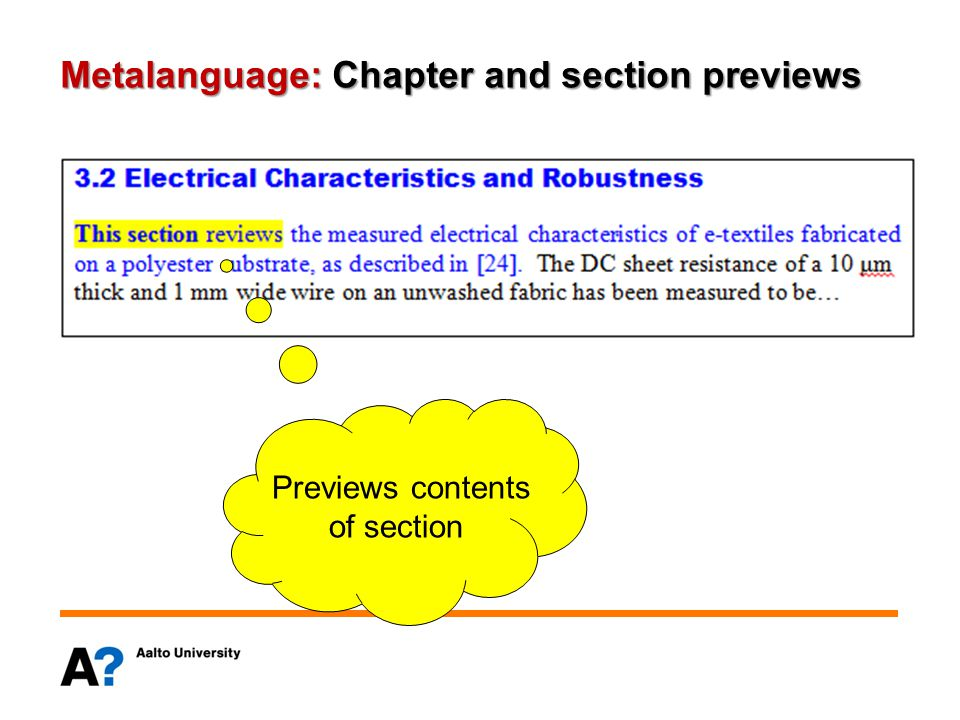 Metalanguage: Chapter and section previews Previews contents of section