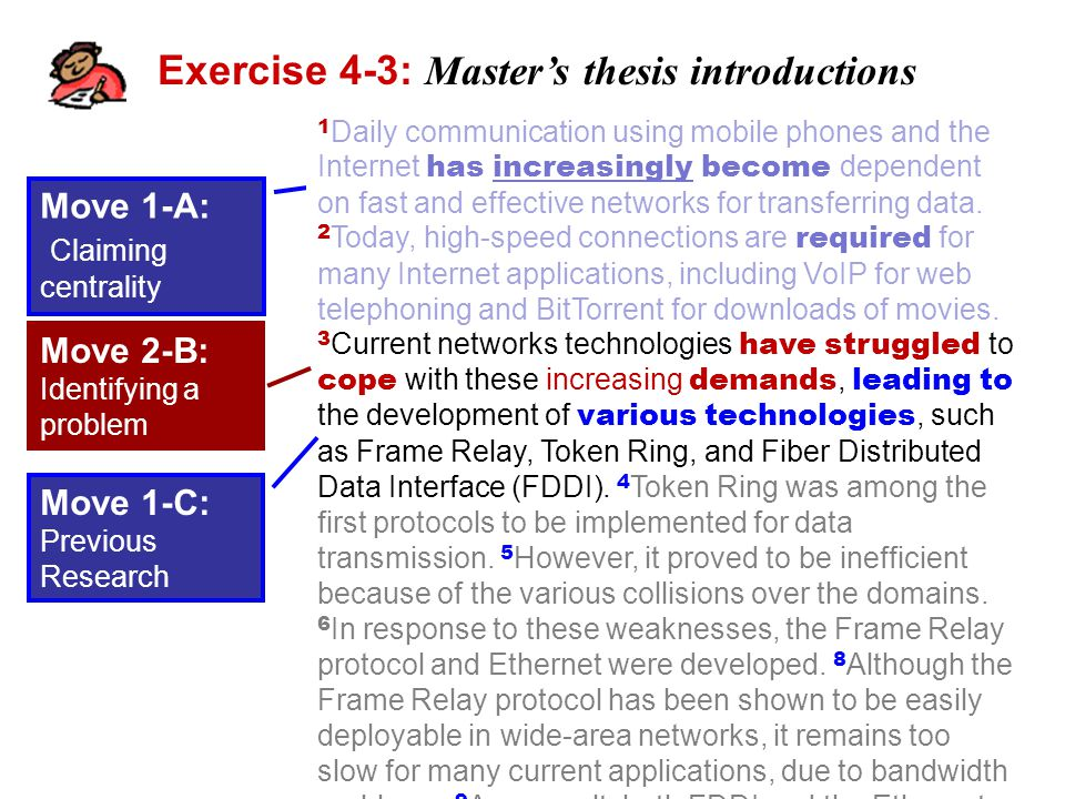Exercise 4-3: Master's thesis introductions 1 Daily communication using mobile phones and the Internet has increasingly become dependent on fast and effective networks for transferring data.