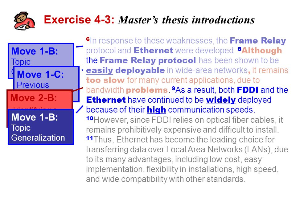 Exercise 4-3: Master's thesis introductions Move 1-B: Topic Generalization 6 In response to these weaknesses, the Frame Relay protocol and Ethernet were developed.