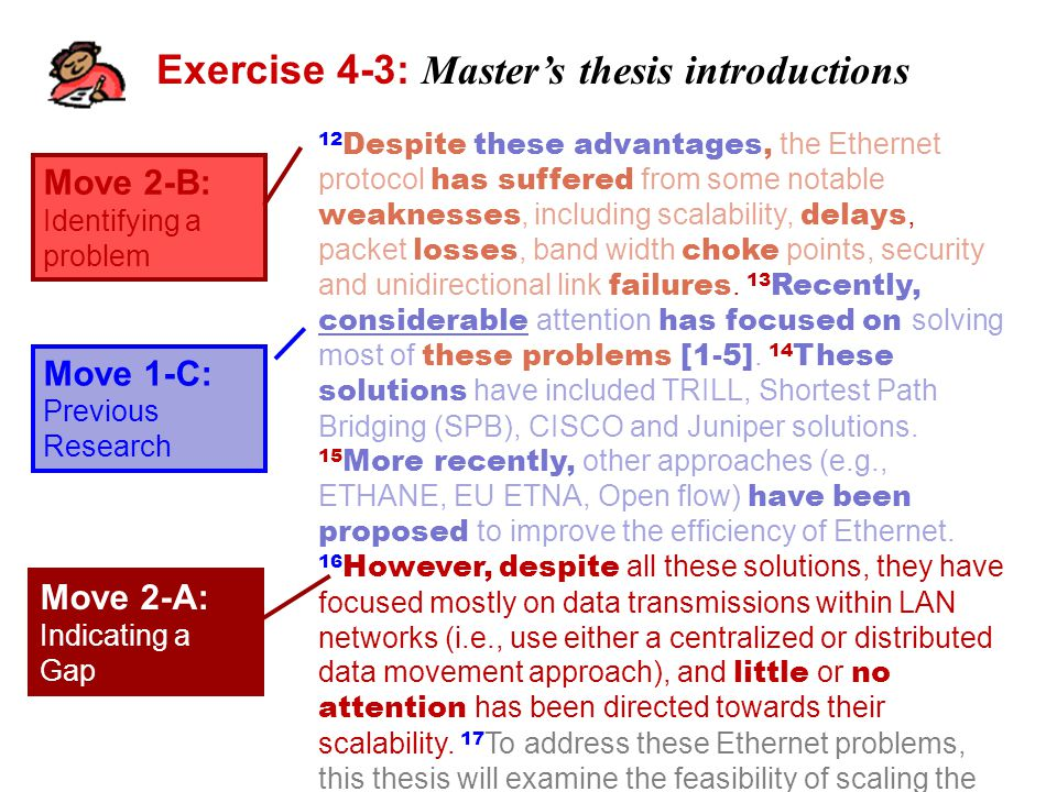 Exercise 4-3: Master's thesis introductions Move 2-B: Identifying a problem Move 1-C: Previous Research 12 Despite these advantages, the Ethernet protocol has suffered from some notable weaknesses, including scalability, delays, packet losses, band width choke points, security and unidirectional link failures.